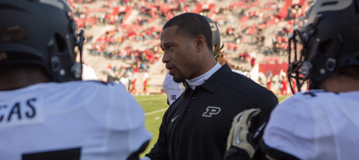Marcus Freeman coaching Purdue's LBs