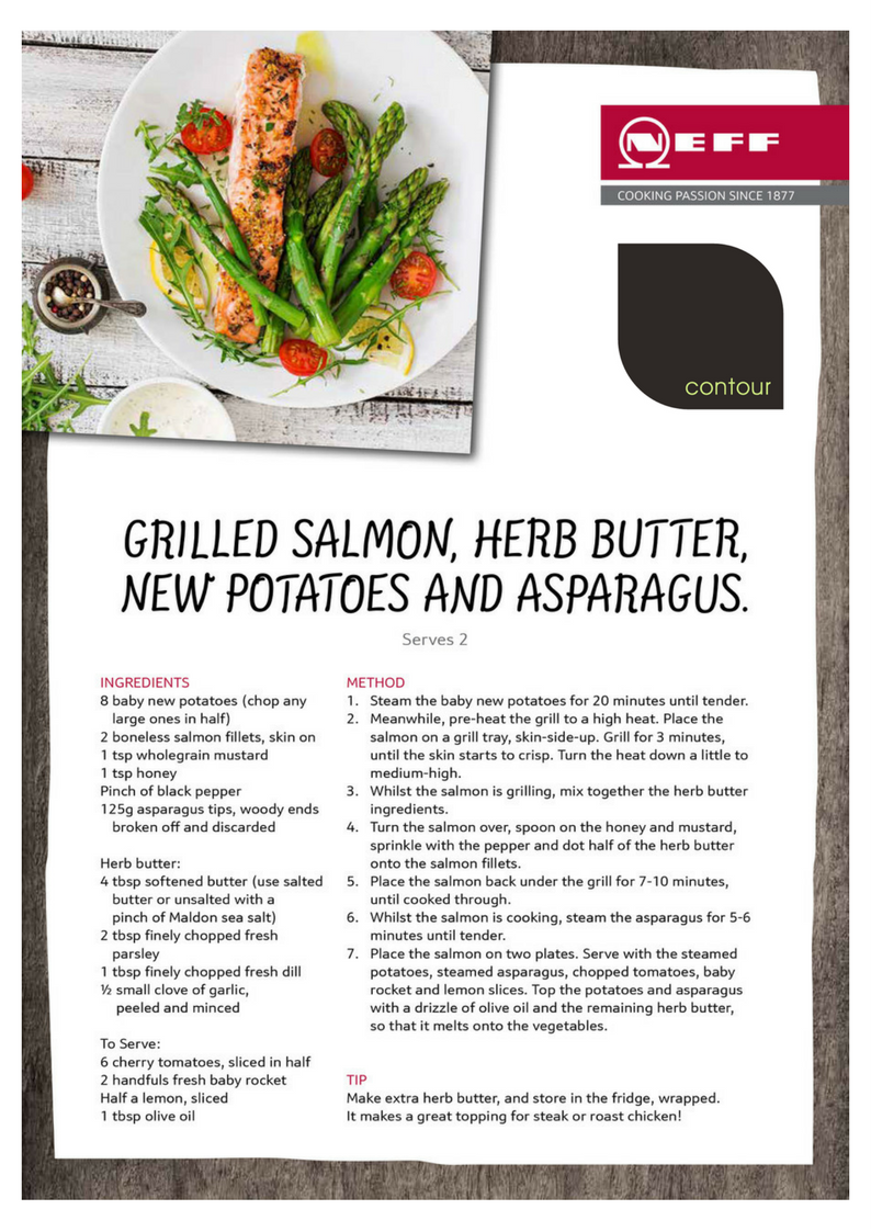 A perfectly fresh and flavoursome recipe for a spring get-together. NEFF Cookaholic, Nicky Corbishley, shares her Grilled Salmon and Herb Butter recipe. http://cookaholics.neff.co.uk/recipes/