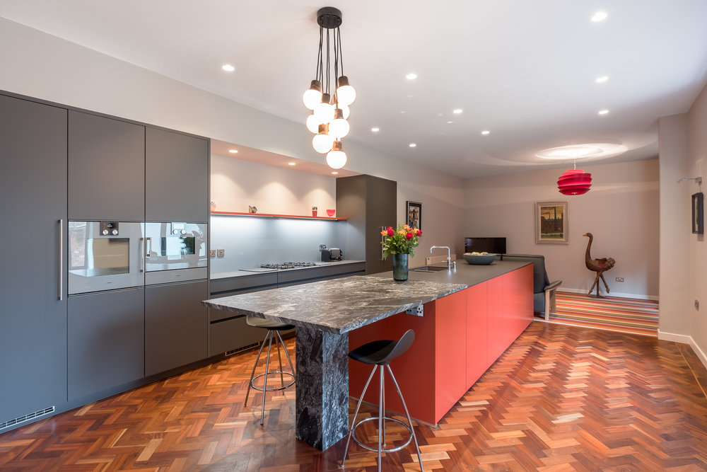 Cayenne and carbon grey kitchen 1