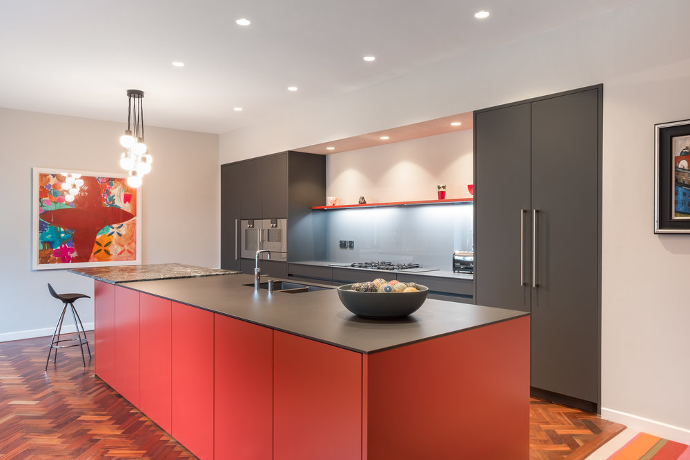 Cayenne and carbon grey kitchen 2