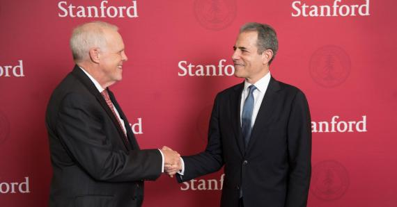 Under Secretary for Public Diplomacy and Public Affairs, Rick Stengel, and Stanford University President John Hennessy at announcement ceremony for Stanford hosting 2016 Global Entrepreneurship Summit. [Stanford University]
