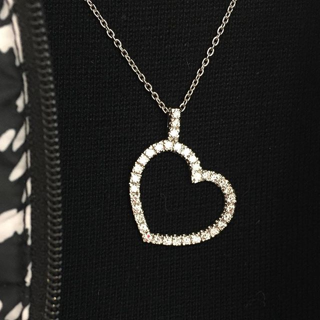 Diamonds go with down vests! Yeah they do! 1 1/2 carat diamond weight & platinum---keeps her thinking warm thoughts! ❤️🎄🎁#diamondheart #heirloom #whileitlasts