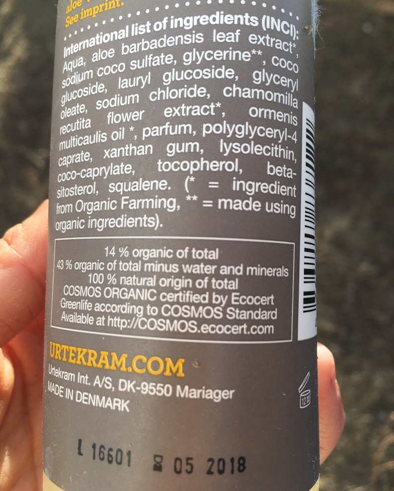 "Label of an organic ""ecocert"" shampoo."