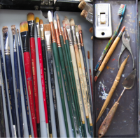Example of my brushes and etching tools.