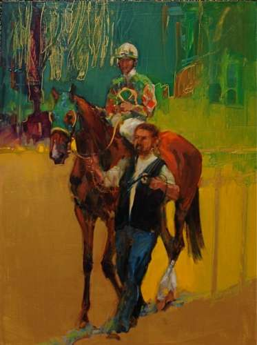 """IRISH"" 16x12 by me. It's about my ancestry. These wonderful jockey silks contained a shamrock which had me romanticizing about being of Irish descent, and remembering those fabulous Irish Thoroughbreds of my youth. It was painted in oil on gold panel..."