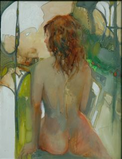 GIRL IN GREEN ABSTRACT 2009 16 x 12 oil by Lesley Humphrey