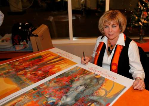 Here I am signing prints on November 19th at my unveiling champagne reception at Churchill Downs.