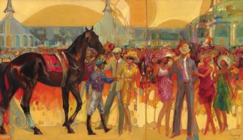 First, the start of the race idea, depicting the team of owners, trainer, jockey and athlete and the Oaks: