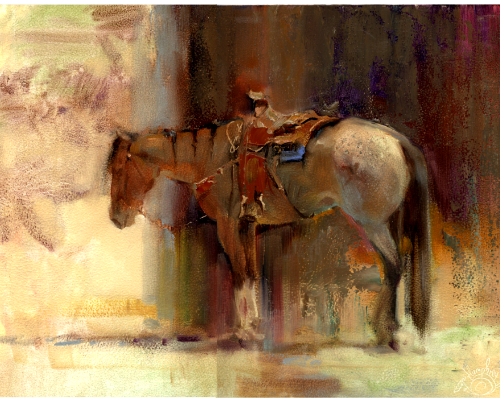 Rode Hard, Put Up Wet. 9 x 12 oil by Lesley Humphrey. 45 minute sketch of an exhausted roping horse. He never moved a muscle!