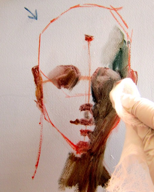 Applying Light 2 - Form Shadow: Decide the direction of the light source (notice little arrow on top left). With thin, soupy paint (this was Transparent Oxide Red, Blue and Viridian plus Liquin and turp), apply to the shadow side of face and neck. (Note the small, triangular shapes applies to either side of 'lip pusher muscle shadow shape'. I always paint each shape separately.) Soften the edges with a soft cloth. This creates the 3-dimensional planes.