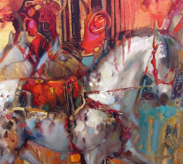 Circus Ponies (detail) 18 x 24 oil on canvas by Lesley Humphrey
