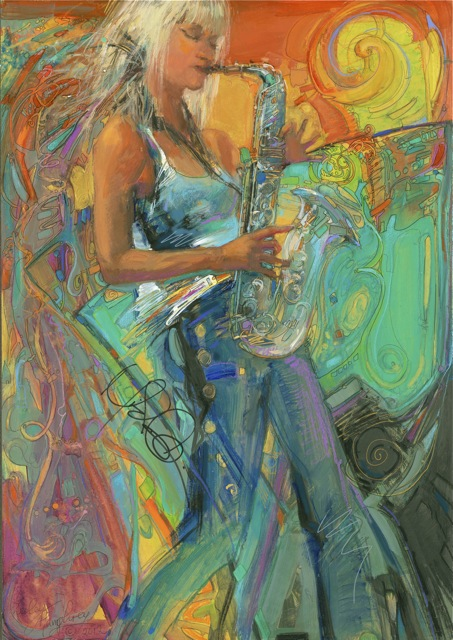 Another birthday present for Larry:  His favorite, the beautiful and talented Mindi Abair! 24 x 18 watercolor on paper.  2012.  From the Sea Breeze Jazz Festival, Panama City, Florida.  I painted this for my husband Larry's birthday, and had Mindi sign it for him when she came to Dosey Doe's in December.  She loved it so much, she asked make posters from it! You can buy them from her website www.mindiabair.com (if not yet, stay tuned.)  The photo is slightly more dull than the actual version.  :)