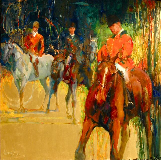 Trinity. 36 x 36 oil on canvas by Lesley Humphrey. An Arabic gentleman visiting the Kentucky Horse Park was offended by this piece. Perhaps he sensed that this painting is not about hunting or huntsman. Hunting imagery is used as metaphor for the underlying idea which is also hinted at in selection of colors, placement, etc.