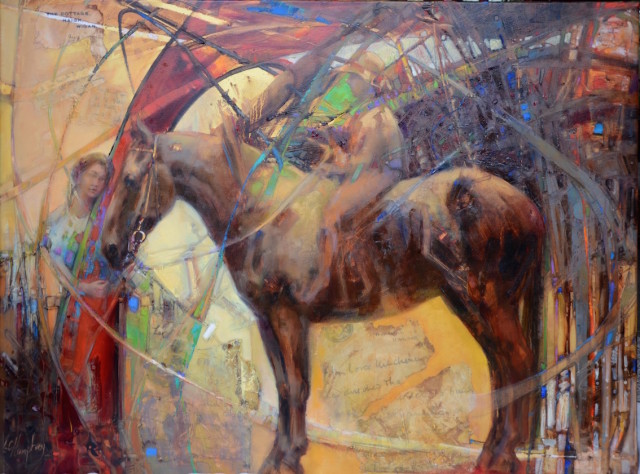 """1914 : Old Betty, War Pony"" by Lesley Humphrey. 2015 oil on canvas, 30″ x 40″."