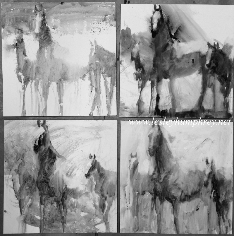 THE BROODMARE SKETCHES : 12 x 12 acrylic on Ampersand panel by Lesley Humphrey
