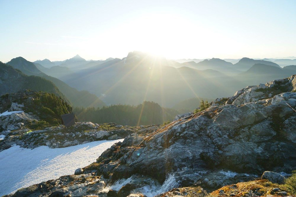 Sunrise near the summit of Golden Ears Mountain, British Columbia