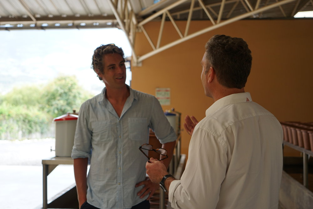 Dom with EcoFiltro Founder Phillip Wilson at the company's factory outside Antigua City, Guatemala