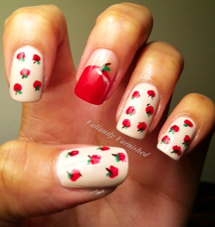 Copy Cat Nail Art Rebecca Likes Nails Apple Mani Valiantly Varnished