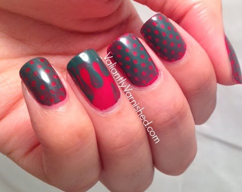 Holiday dot and drip nail art valiantly varnished im still obsessed with holiday nail art and wanted this design to be festive but unexpected i started my painting my nails with one coat of china glaze prinsesfo Choice Image