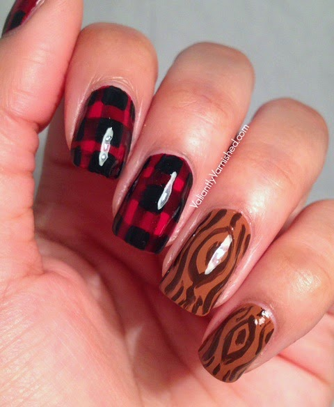 Flannel and wood lumberjack nail art valiantly varnished when i think of buffalo plaid i think of lumberjacks and hipsters of course which makes me think of wood i had to do nail art combining the two prinsesfo Image collections