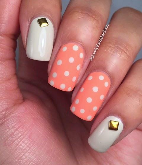 Matte Polka Dot Spring Nail Art Valiantly Varnished