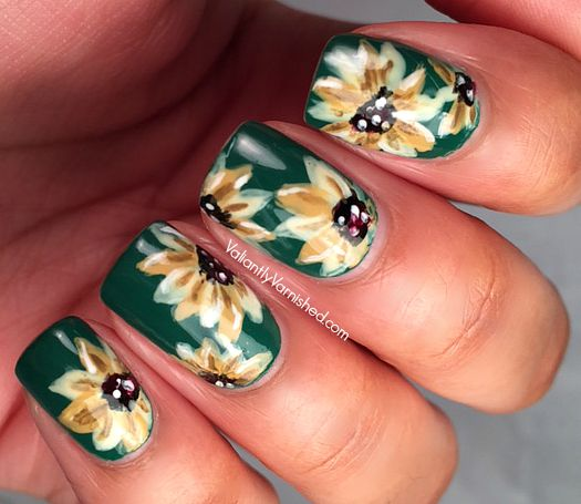 So lo and behold yesterday I found my bright yellow polish! And now I can't  stop thinking of re-doing these with a brighter background. Sunflowers! - Muted Sunflower Nail Art — Valiantly Varnished