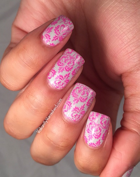Pink Damask Nail Art And A Comedy Of Errors Valiantly Varnished