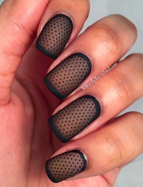 I then used my striping brush and Willa to create the black frame around my  nails. I finished with my Matte Top Coat. - Sheer Matte Polka Dot Nail Art — Valiantly Varnished