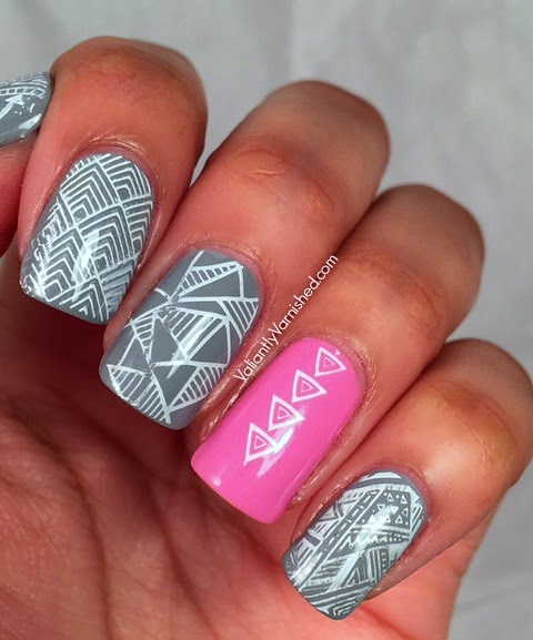 Grey And Pink Geometric Nail Art Valiantly Varnished
