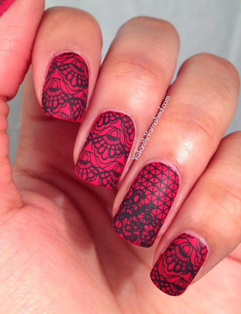 Matte Lace Valentines Day Nail Art Valiantly Varnished