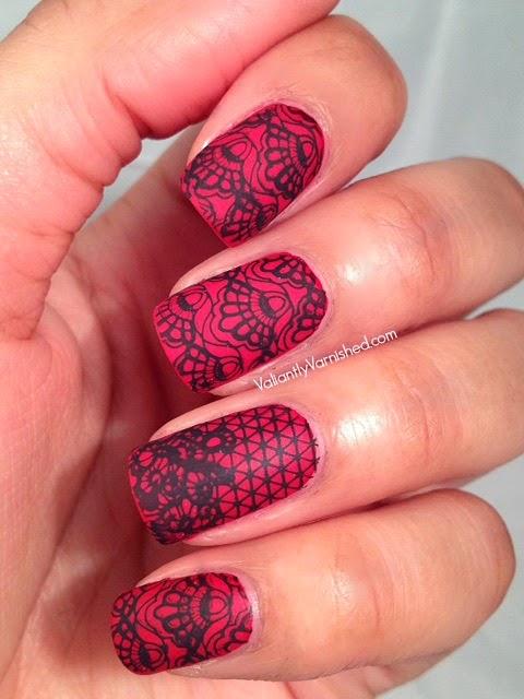 Matte Lace Valentine\'s Day Nail Art — Valiantly Varnished