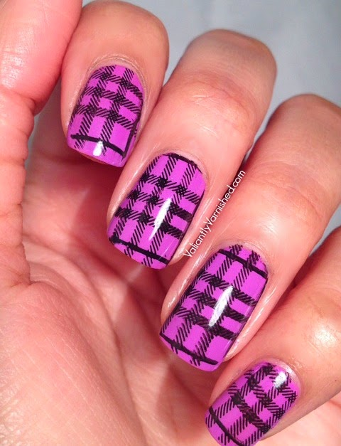 Plaid Nail Art with MoYou Hipster Plate 05 — Valiantly Varnished