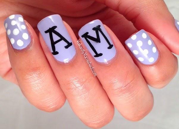 Monogram and polka dot nail art valiantly varnished monogram and polka dot nail art prinsesfo Gallery