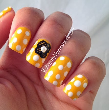 marc jacobs honey nail art polka dots flowers