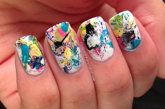Artsy wednesday splatter graffiti nails valiantly varnished im happy with how these turned out considering that this was my first time trying this technique im eager to try it out with other color combos as well prinsesfo Choice Image