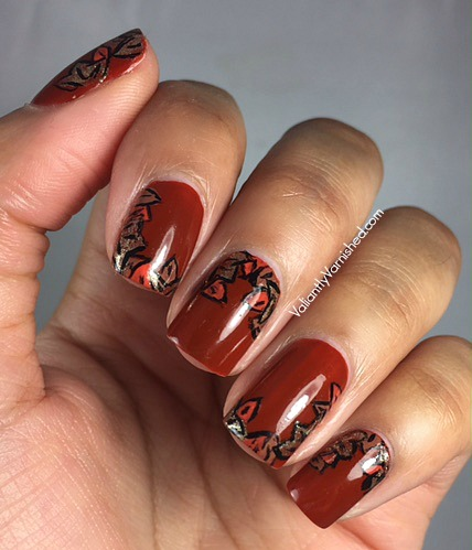Fall Nail Art With Essie Playing Koi Valiantly Varnished