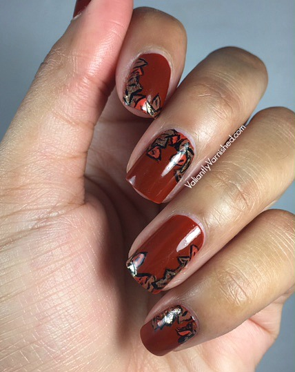 Fall nail art with essie playing koi valiantly varnished this design is simple and pretty i was really impressed with the brushes and acrylic paints i purchased them on the recommendation of a nail artist on prinsesfo Images