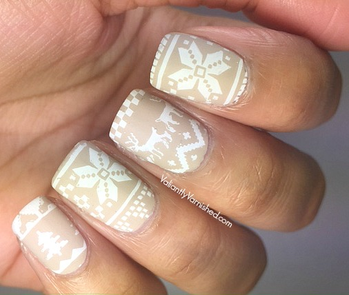 Neutral Fair Isle Winter Nail Art