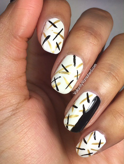 Abstract Black Gold And White Nail Art Valiantly Varnished