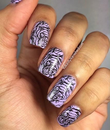 Lavender And Black Rose Stamping Valiantly Varnished