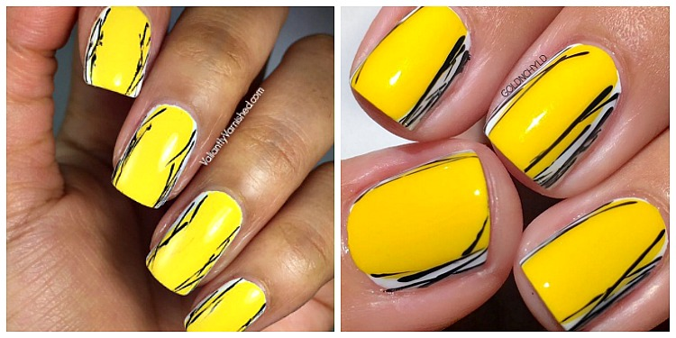 April Mani Swap With Goldnchyld Yellow And Black Graphic Nail Art