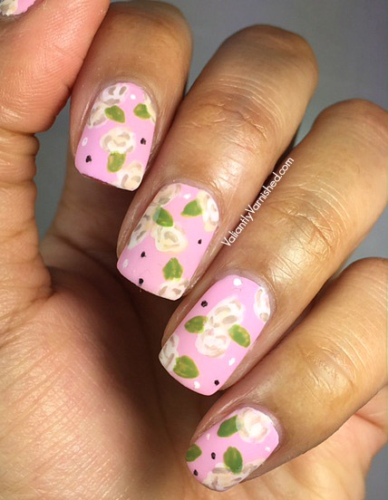 Matte Cream Freehand Rose Nail Art Valiantly Varnished