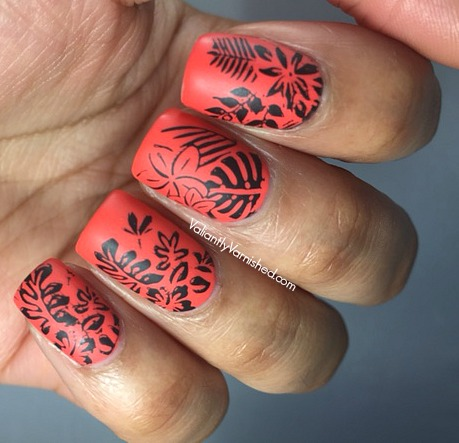 Neon Matte Tropical Nail Art