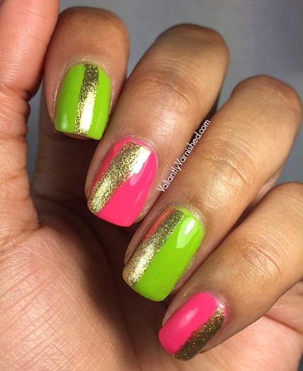 Quick And Easy Summer Nail Art Neon Skittle With Gold Stripes