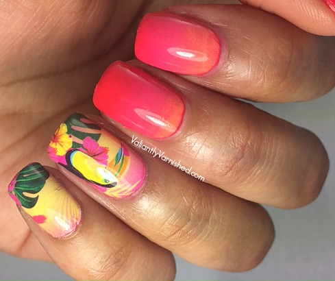 Quick And Easy Summer Nail Art Summer Gradient Wtropical Nail