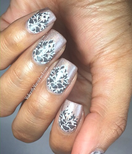 Gray And White Double Stamping Nail Art Valiantly Varnished