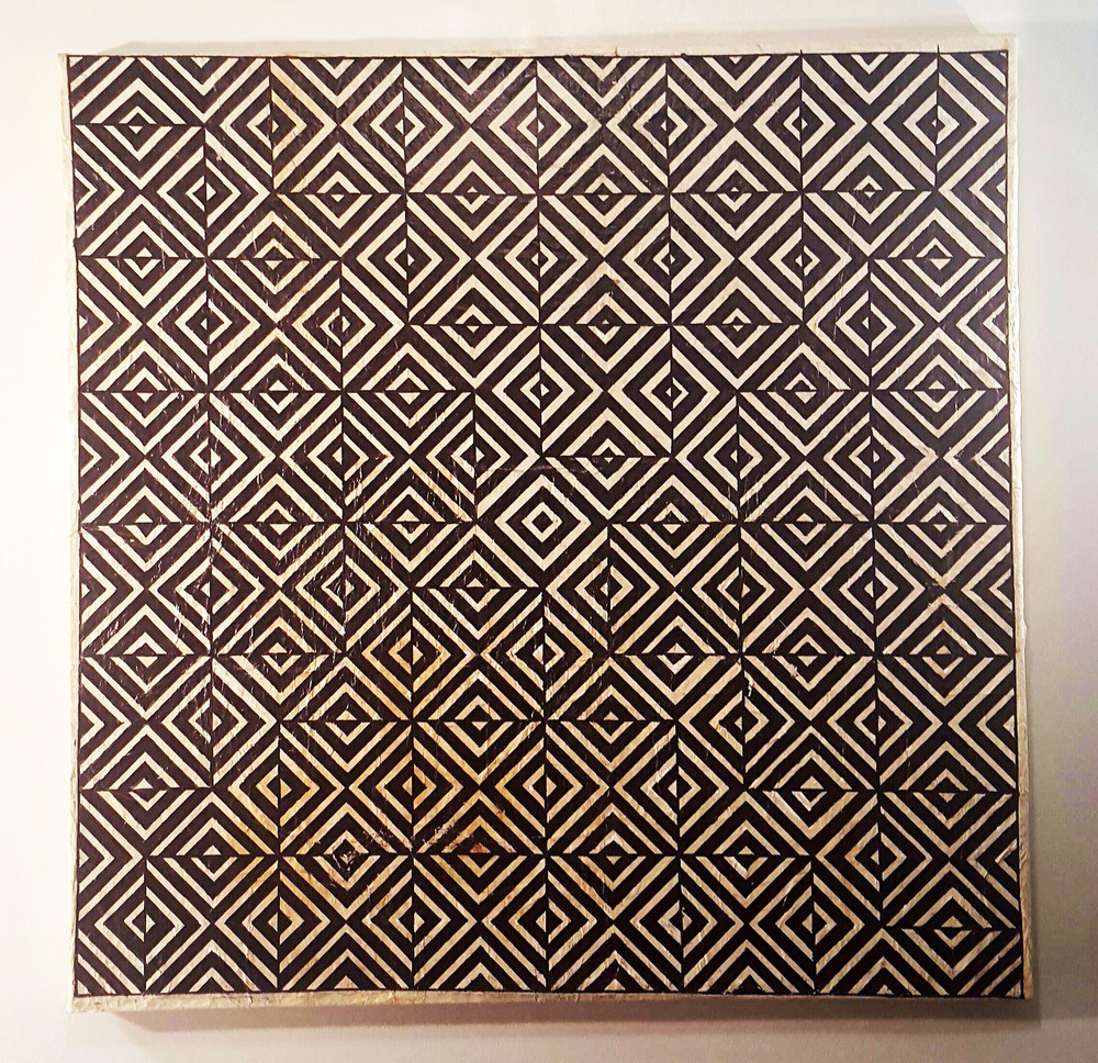 ULS, The spaces in-between infinity, Acrylic on Tapa Cloth mounted onto canvas, 100com sq, 2015.jpg