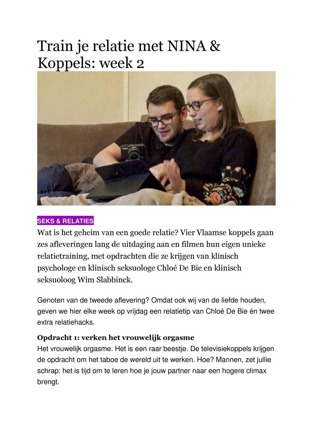 TRAIN JE RELATIE - Met NINA & Koppels