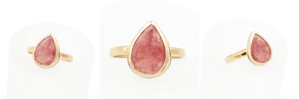 Previous remodel bespoke order I created with a light pink salmon colored sapphire and her old gold jewelry.