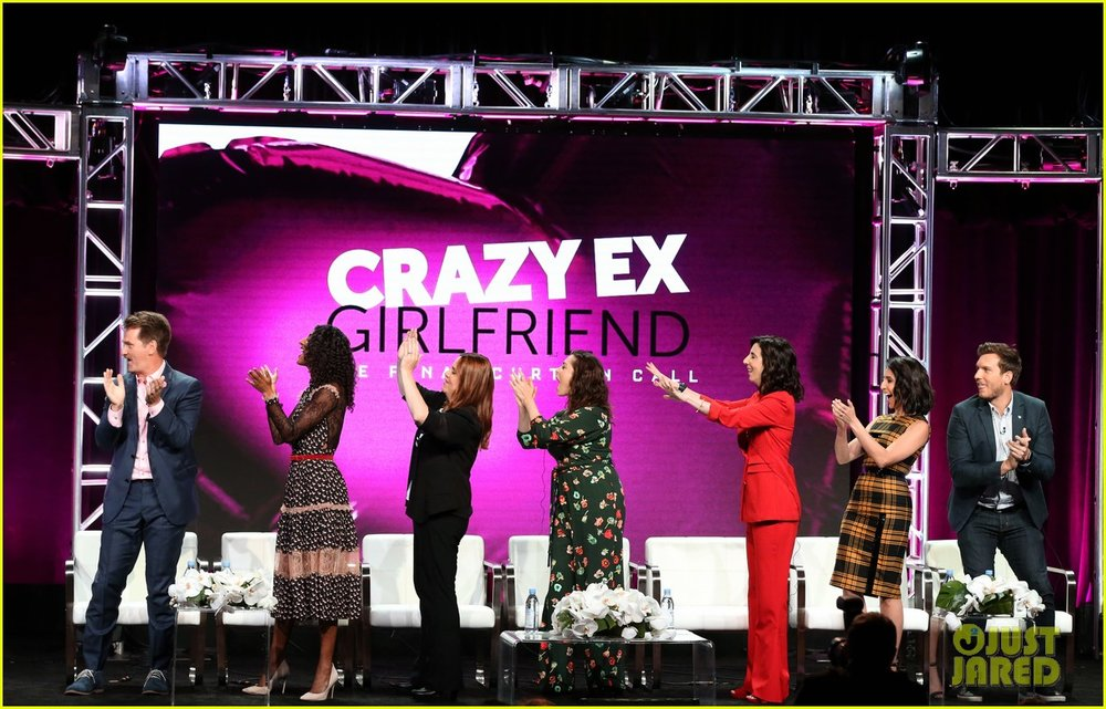 Top Shelf Vocal performs for the cast of Crazy Ex-Girlfriend at a Television Critics Association panel